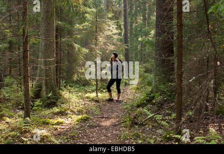 Woman trekking through forest, Helsinki, Finland - Stock Photo
