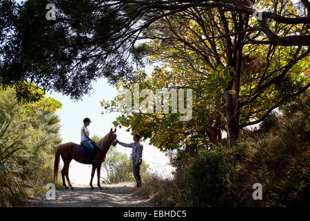 Horse riding, Pakiri Beach, Auckland, New Zealand Stock Photo