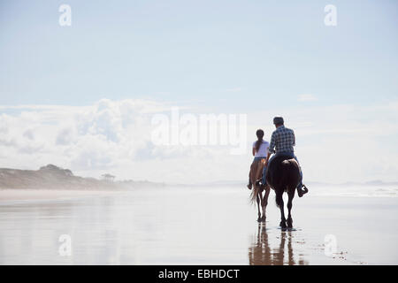 Horse riding, Pakiri Beach, Auckland, New Zealand - Stock Photo