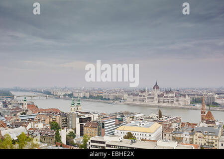 Skyline of Budapest from fisherman's bastion by day, Parliament across the Danube, Hungary - Stock Photo