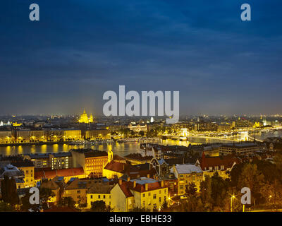 Skyline of Budapest from fisherman's bastion by night, Hungary - Stock Photo