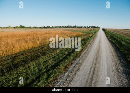 High angle view of empty rural road between fields - Stock Photo