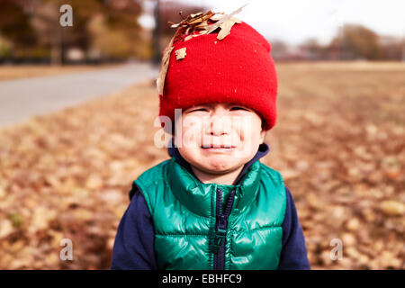 Portrait of male toddler with autumn leaves on red knitted hat - Stock Photo