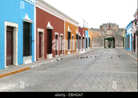 Spanish colonial houses and historic Land Gate viewed from 59th Street, Campeche, Mexico - Stock Photo