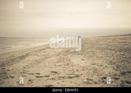 Distant view of two people strolling on beach, Truro, Massachusetts, Cape Cod, USA - Stock Photo