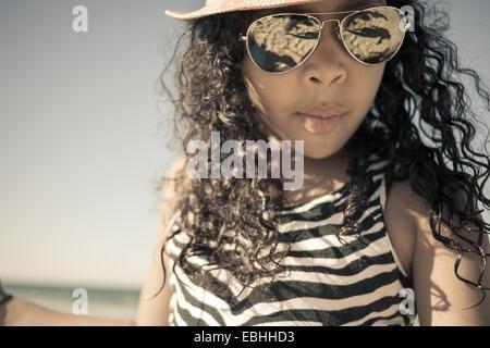 Close up of girl in sunglasses, Truro, Massachusetts, Cape Cod, USA - Stock Photo