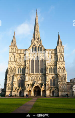 Front facade entrance of Salisbury Cathedral during the autumn sun / winter blue sky, & bare tree leaf / leaves. - Stock Photo