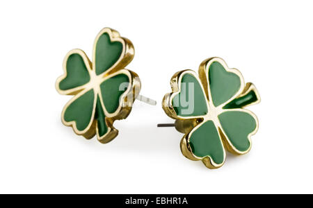 Four-leaf clover earrings on a white background - Stock Photo