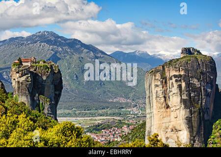 Holy Trinity Monastery or Agia Triada Monastery in the Meteora Monastery complex in Greece - Stock Photo