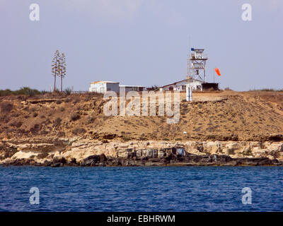 A United Nations watch tower near Famagusta, Cyprus. Since the Turkish invasion of northern Cyprus in 1974, the - Stock Photo