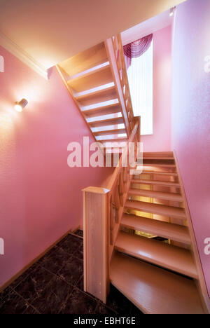 Wooden Staircase, ladder in the modern luxury house. Vestibule, corridor indoors staircase ladder house residential - Stock Photo
