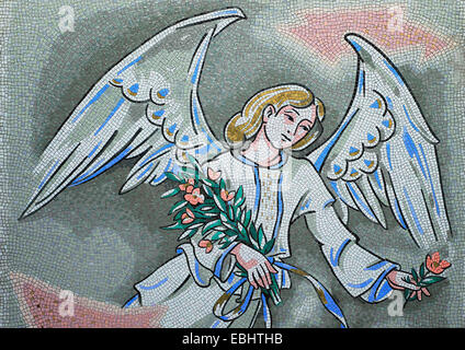 Mosaic of a female, flying angel holding flowers. Decorative application on a gravestone in a cemetery. Spilimbergo, - Stock Photo