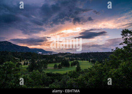 Beautiful sunset over the US Air Force Academy's Eisenhower Golf Course near Colorado Springs, Colorado - Stock Photo