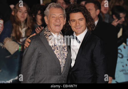 London, UK. 1st Dec, 2014. Ian McKellen and Orlando Bloom attend the UK premiere of 'Hobbit' at Empire Leciester - Stock Photo