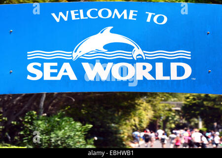 GOLD COAST, AUS -  NOV 06 2014:Visitors in Sea World Gold Coast Australia.It's sea animals theme park that promote - Stock Photo