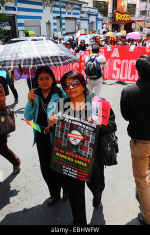 Protesters march to demand justice for the 43 missing students in Mexico and protest against corruption, La Paz, - Stock Photo
