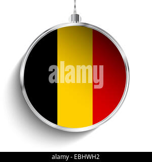 Vector - Merry Christmas Silver Ball with Flag Belgium - Stock Photo