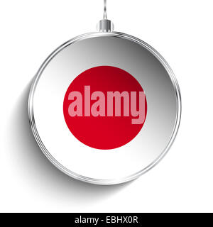 Vector - Merry Christmas Silver Ball with Flag Japan - Stock Photo