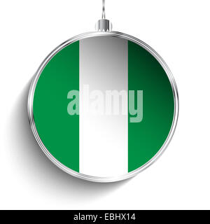 Vector - Merry Christmas Silver Ball with Flag Nigeria - Stock Photo