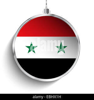 Vector - Merry Christmas Silver Ball with Flag Syria - Stock Photo