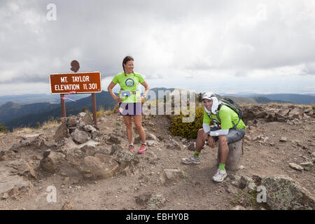 Runners reach the summit during the Mt Taylor 50k on September 27, 2014 - Stock Photo