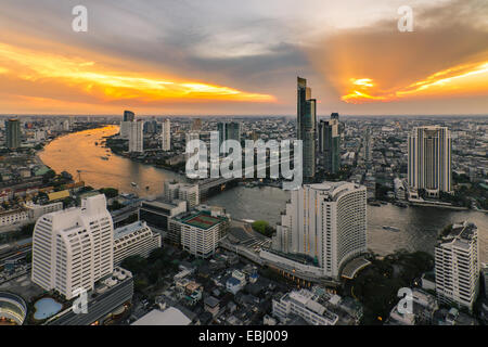 Bangkok city bird's-eye view in beautiful sky - Stock Photo