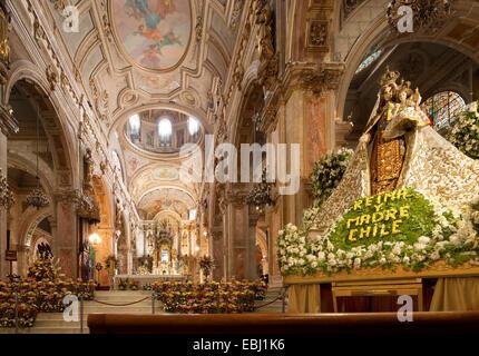 Santiago Chile Cathedral. Metropolitan Cathedral, Catedral Metropolitana on Plaza de Armas Virgen del Carmen Patroness - Stock Photo