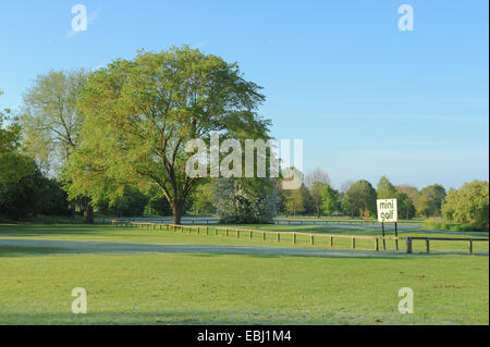 Sign for Mini Golf on the Recreation Ground on the Banks of the River Avon, Stratford upon Avon, Warwickshire, England, - Stock Photo