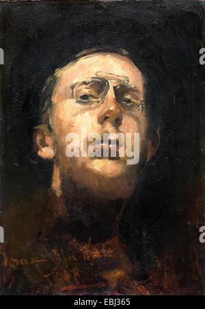 George Hendrik Breitner, Self-portrait with Pince-nez. Circa 1882. Oil on canvas. Gemeentemuseum Den Haag, The Hague, - Stock Photo