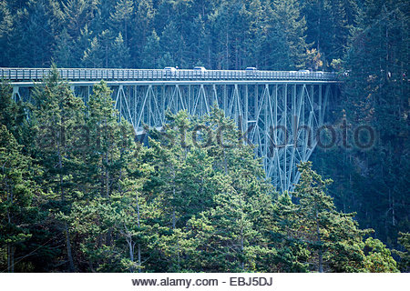 Bridge at Deception Pass in Washington State Stock Photo, Royalty Free