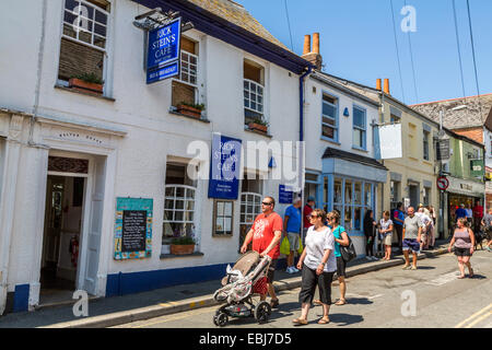 An exterior view of the front facade of Rick Stein's Cafe Padstow Cornwall - Stock Photo