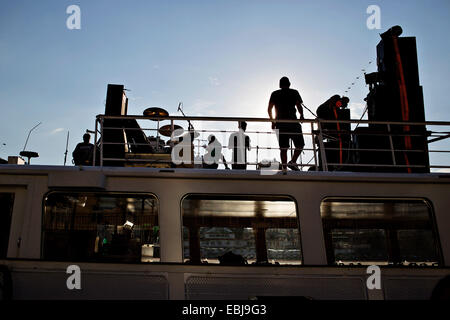 Vltava river, embankment, people, relax, drinking, entertainment, - Stock Photo