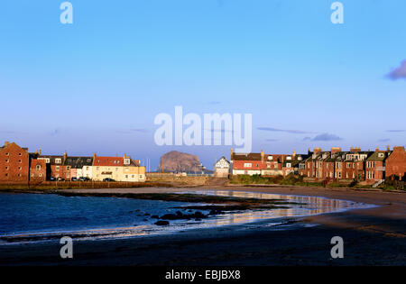 View of The Bass Rock from West Bay, North Berwick, in East Lothian, Scotland. - Stock Photo