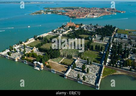 Aerial view of  San Michele and Murano islands, Venice lagoon, Italy, Europe - Stock Photo
