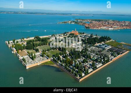 Aerial view of isola San Michele island, Venice lagoon, Italy, Europe - Stock Photo