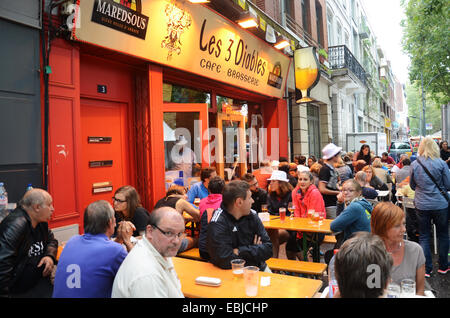 taking a break at the famous Lille Braderie, Lille - Rijssel,  France - Stock Photo