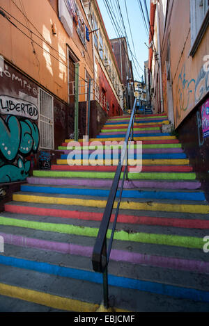 Painted stairs and graffitis. Valparaiso. Chile - Stock Photo