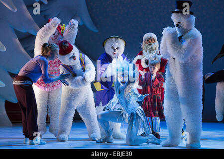 Children's Christmas and winter show The Snowman performed at the Peacock Theatre, London - Stock Photo