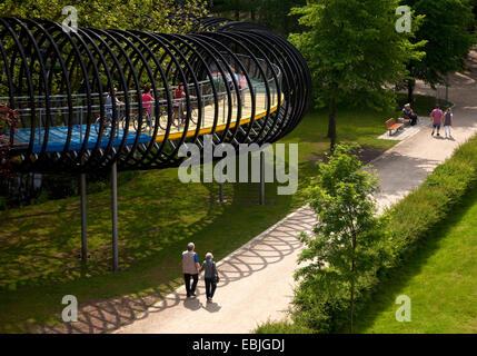 detail of  'Slinky Springs to fame' bridge in Kaisergarten, Germany, North Rhine-Westphalia, Ruhr Area, Oberhausen - Stock Photo