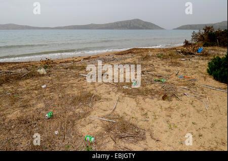 dirty beach of Divari, Greece, Peloponnese, Messinien, Messinia, Natura 2000, Pylos - Stock Photo