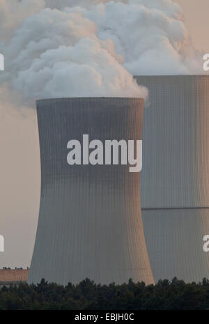 cooling tower of coal-fired power station Boxberg, Germany, Saxony, Oberlausitz, Nochten - Stock Photo