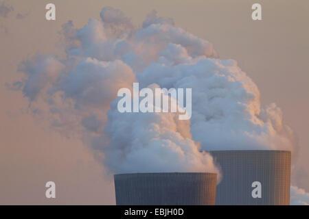 cooling tower of coal-fired power station Boxberg, Germany, Saxony, Oberlausitz, Nochten - Stock Photo