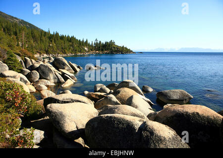 view from the stony shore over Lake Tahoe, USA, Nevada, Sand Harbour - Stock Photo