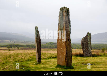 remains of the stone circle of Machrie Moor from the early bronze age, United Kingdom, Scotland, Arran Island - Stock Photo