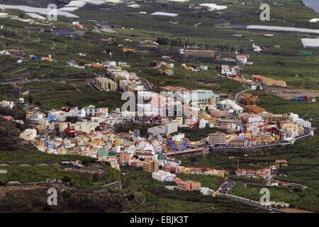 view from the Mirador El Time on Tazacorte, Canary Islands, La Palma - Stock Photo