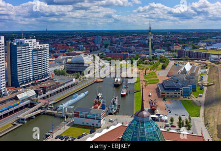 panoramic view over the Columbus Center, Mediterraneo and the Deutsche Schiffahrtsmuseum, Germany, Bremerhaven - Stock Photo