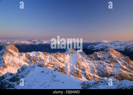 Alpstein massif , view from Saentis mountain peak in evening light, Switzerland, St. Gallen - Stock Photo