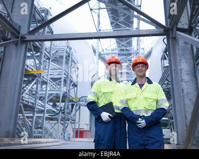 Portrait of workers in biomass facility - Stock Photo