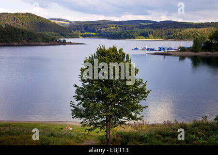 panoramic view over the Biggesee with boat harbour, Germany, North Rhine-Westphalia, Sauerland, Attendorn - Stock Photo
