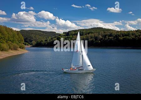 sailing boat on the Biggesee, Germany, North Rhine-Westphalia, Sauerland, Attendorn - Stock Photo